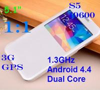 Wholesale S5 i9600 SM G900 Android KitKat inch Dual Core MTK6572 GB GB WiFi G WCDMA Single Micro Sim Card MP Camera free