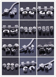 Wholesale 100PCS Antique Silver plated Metal Clips Lock Stopper European Beads Fit Charm Bracelet Chain Jewelry Findings