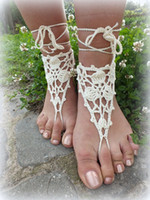 Wholesale Ivory Crochet Barefoot Sandals Nude shoes Foot Jewelry Wedding Victorian Lace Sexy Anklet Bellydance Beach Footwear pair