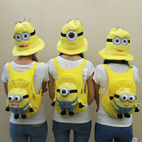 Wholesale Despicable me milk minions plush toy doll school bag Backpack Toy Figures
