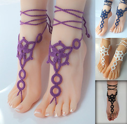 Wholesale 4 color Black Crochet Barefoot Sandals Nude shoes Foot Jewelry Wedding Victorian Lace Sexy Anklet Bellydance Beach Footwear pair