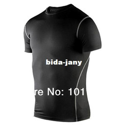 Wholesale-2014 Size S-XXL Men Sport Compression Base Layers Under Tops Shirts Skins Gear Wear Sports Thermal Tees Tops High Flexibility