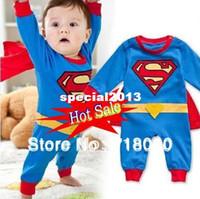 Wholesale Baby Boy Romper Superman Long Sleeve with Smock Infant Cartoon Halloween Christmas Costume Gift Children Kids Autumn Free Ship