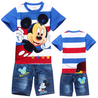 Boy Summer Children 6 Sets lot Boys girls new 2013 baby t-shirts pants cartoon suits costumes mickey children kids clothing 2014 NO2