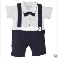 Boy Summer Baby Wholesale-Baby Romper, Gentleman Design,Bow Tie, infant Short sleeve climb clothes,Summer kids clothes,Suspenders ,FreeShipping