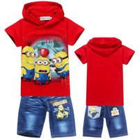 Boy Summer Children 6 Sets lot Boys and girls new 2013 baby t-shirts pants cartoon suits costumes children kids despicable me 2 minion clothing 2014