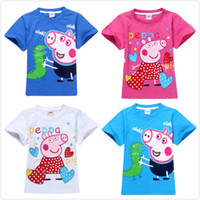Unisex Summer Standard Retail 2014 New Arrival Peppa Pig T-shirt White Pink Children T shirt Girls Clothes Boy Tees 100% Cotton Free Shipping