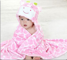 Wholesale Hot Sale New Children s Blankets Cute baby s blanket cute cow design hooded pink