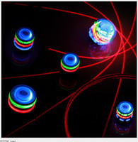 Wholesale set Colorful light LED laser Music flashing peg top spin tops gyro children toy gift EMS