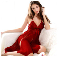 Wholesale Sexy Lingerie Wine Red Black Colors Chemise Pajamas Sleepwear Babydoll Dress G String DB5540