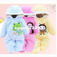 Unisex Summer Baby Wholesale-1PCS winter warm Baby romper baby One-Piece romper one-piece Hooded Cut animal jumpsuit clothing Free Shipping LT004