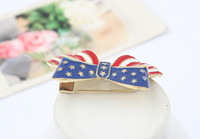 Wholesale European and American Fashion American Flag Bowknot Brooches chain Brooch Vintage Clothing Accessories Pin Ouch Breastpin New