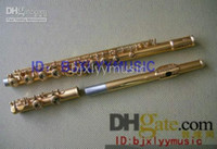Closed Yes 16 Wholesale - New Arrival Advanced Carved Gold C KEY flute With hard case high quality Golden Flute