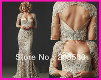 Wholesale 2015 New Arrival Lace Sweetheart Long Sleeve Backless Mermaid Mother of the Bride Dresses Gowns M1792