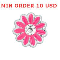 Charms for locket mixed DARK PINK DAISY charms for glass living locket wholesale 20 PCS Lot