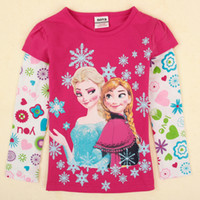Wholesale frozen girls tops nova latest designer autumn winter snowflakes printing fuchsia baby long sleeve t shirts toddler girls clothing F5100Y