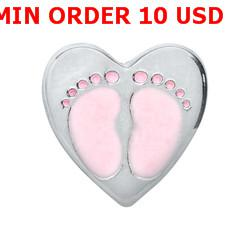 Wholesale SILVER BABY GIRL FEET Floating charms for memory locket