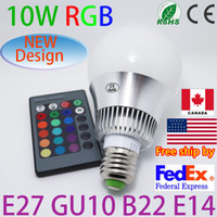 Wholesale free ship by fedex w W W W W AC V E27 LED RGB Light Bulb table Lamp Remote Control factory outlet led bulb