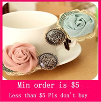 Barrettes & Clips Women's Other Min.Order $5( Mix Jewelry order)2014 Fashion cute Rose Lace Hair band Hair Accessory High Quality H0098