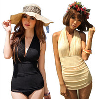 Women Bikinis Pure Colour Vintage Sexy Bikini One Piece Swimsuit Deep V Halter Swimwear Swim Dress Bathing Suits YZ010