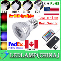 Wholesale Free FEDEX Ship W RGB Spotlight Color Changing Bulb GU10 E27 E14 RGB led lamp Light Bulb with Remote Control V New Arrival