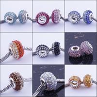 Wholesale 100PCS mm Crystal Rhinestone Beads Stripe Pattern Rondelle Loose Bead Charm European Big Hole Beads Fit Bracelet Chain Jewelry