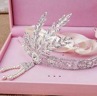 Tiaras&Crowns Silk Flower 100% Brand New  The Great Gatsby Wedding Bridal Hair Accessories Crystal Rhinestone Swarovski Flowers Pearls Headband Beaded Princess Tiara Jewelry Favor
