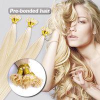 "Brazilian Hair Blonde Straight Wholesale - 500S lot 14""-24"" Pre Keratin Flat-Tip Human Hair Extension #613 light blonde ,0.6g s 60g set"
