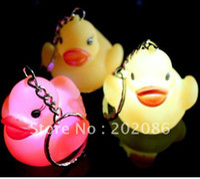 Key Chains Fashion Zhejiang China (Mainland) Trialsale 10pcs Flashing rubber duck keychain LED duck keychain toy promotional keychain toy free shipping