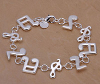 Wholesale silver bracelet silver fashion dress jewelry Music charm bracelet Pendants Bracelet bangle