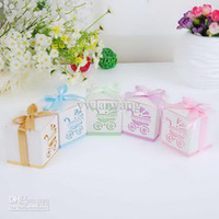 Favor Boxes Pink Paper Wholesale - Wedding Faovrs Baby's Day Out Laser-Cut Carriage Candy Boxes Favor Box Sweet Boxes bue pink purple green