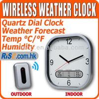 Kitchen Infrared Thermometer WS-108 Wireless Indoor and Outdoor Quartz Wall Clock Humidity Weather Station