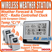 Kitchen Infrared Thermometer WS-107-3 Indoor Outdoor Temperature Humidity 3 Remote Sensors Wireless Weather Station