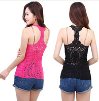 Women Tank Top Floral The back hollow lady sling bottoming shirt cotton vest