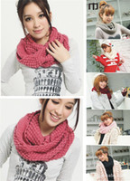 Wholesale Vogue Autumn Women Neckerchief Lady Infinity Scarf Spring Brown Crochet Wraps infinity scarf