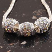achat en gros de chaîne zingué-20pcs blanc AB cristal argent plaqué tambour Spacer européenne gros trou perles perles de charme pour bracelet chaîne de bijoux trouvailles 12x12mm