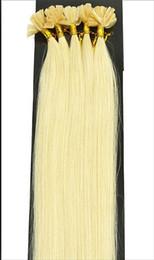 "5A - wholesale -1g s 100g pack 16''- 24"" Keratin Stick u Tip Human Hair Extensions Peruvian hair 60# platinum blonde dhl Fast shipping"