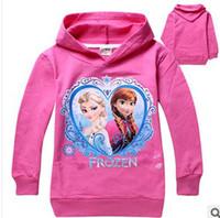 Girl Spring / Autumn O-Neck 3 Colors 2014 Frozen Baby Girls 2-8Yrs Elsa Anna Princess Hoodie Long Sleeve Terry Hooded Jumper Cartoon Hoodies Outerwear Kids