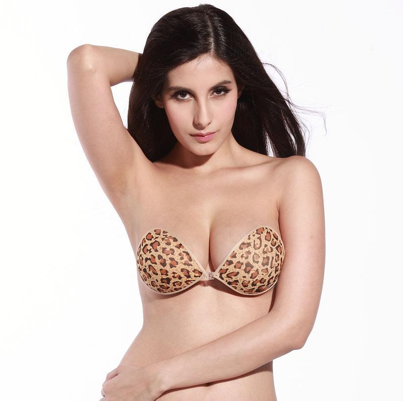 2017 Sexy Hot Women Silicone Leopard Bikini Push Up Bras Invisible ...