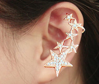 Wholesale Stars Women Earrings Gothic Rock Punk Style Gold Crystal Shiny Ear Cuff Left Ear Fashion Jewelry Ear Clip