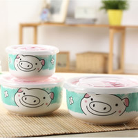 Ceramic Bowls On-glazed Triangle set cartoon ceramic plastic bowl instant noodles in cup soup bowl with lid ceramic instant noodles bowl plastic bowl