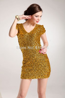 Wholesale HOT new Korean full sequined high elastic self cultivation packet hip short sleeved dress club sexy dress