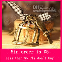 Wholesale Min Order Mix Jewelry order Retro Vintage Cute Mini Bird Cage with Ribbon Fashion Pendant Necklace E4275