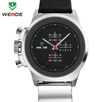 Luxury Men's Round 3ATM new genuine soft leather watchband WEIDE watch men brand famous original Japan Miyota 2035 quartz movement 1 year guarantee