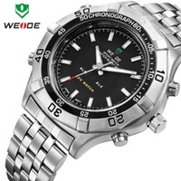 Sport Men's Round WEIDE wristwatch stainless steel men watch sport waterproof quartz LED alarm 3 ATM water resistant Japan movement new dropship