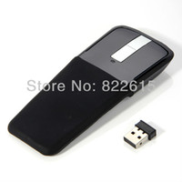 Wholesale Wireless Optical Mouse Foldable Flat USB Adaptor GHz Arc Touch Scroll Computer Laptop PC Black Unique Look Dropship