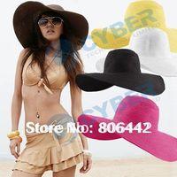 Ball Cap Red Woman Hot Fashion Women's Foldable Wide Large Brim Floppy Summer Beach Sun Straw Hat Cap Free Shipping