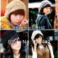 Wholesale fashion pure color Braided lady s Crochet beret hat knitted cap colors