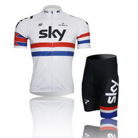 Wholesale New Bicycle team sky Cycling jerseys and bib shorts white color maillot Cycling Clothing