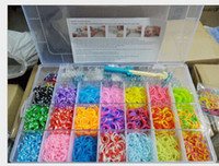Wholesale Rainbow loom Bands Kit Clear Plastic Box for Kids DIY Silicone Bracelets rubber bands charms clips Rainbow Loom Hook